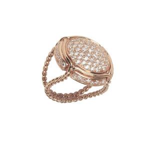 Champ !, bague chevalière, pavage diamants blancs, anneau torsadé, or rose, 18 kt,