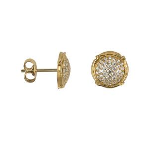 Champ !, boucles d'oreille puces, mini-capsules, pavage diamants blancs, or jaune,