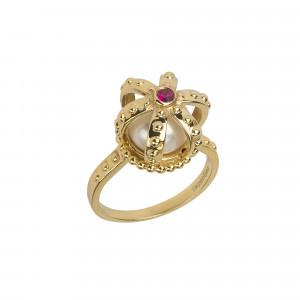Princesse Tipois bague couronne, or jaune, perle d'eau douce, rhodolite rose