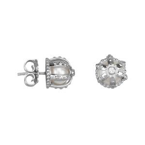 Princesse Tipois boucles d'oreille puces, couronnes, or blanc, perles d'eau douce, diamants blancs