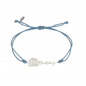 Globe-Trotter, bracelet Athens, (Athènes), argent massif, rhodié blanc, cordon nylon,