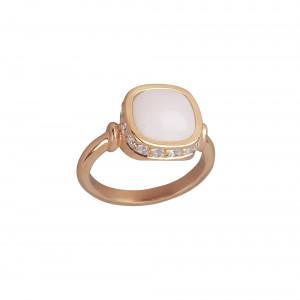 Marelle à Marbella, bague, or rose, opale rose, taille cabochon coussin, diamants blancs