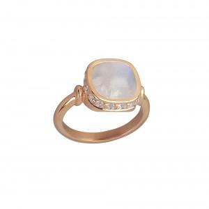 Marelle à Marbella, bague, or rose, pierre de lune, taille cabochon coussin, diamants blancs