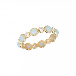 Marelle à Marbella, alliance, or jaune, cabochons d'aigue-marine bleue milky, diamants blancs