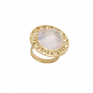 Ma cousine Tonkinoise bague, quartz rose conique, or jaune