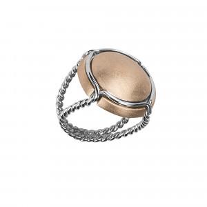 Champ !, bague chevalière, capsule satinée or rose, anneau torsadé or blanc, 18 kt,
