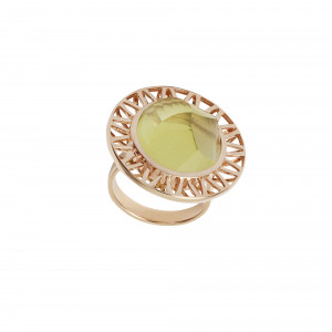 Ma cousine Tonkinoise bague, citrine lemon conique, or rose