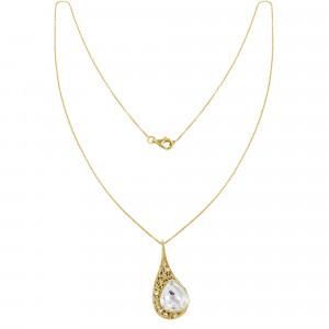 """""""La larme du Crocodile"""", collier chaîne, pendentif, filigrane, or jaune, Cristal de Roche, facetté, taille poire, diamants blancs,"""