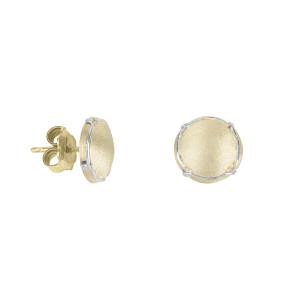 Champ boucles d'oreille puces, mini capsules satinées or jaune,  muselet or blanc