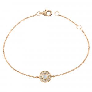 Marelle à Marbella, bracelet chaîne, petit cabochon Pierre de Lune, diamants blancs, or rose
