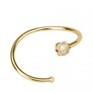 Princesse Tipois bracelet jonc or jaune, perle d'eau douce, rhodolites roses