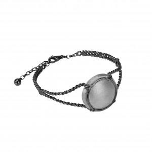 Champ !, bracelet, manchette torsadée, argent massif rhodié noir, capsule satinée argent massif rhodié blanc, (Taille M)