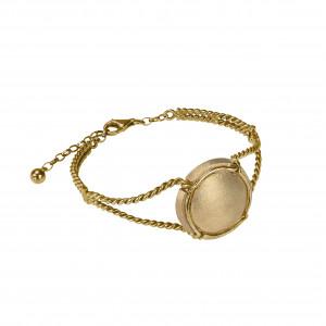 Champ !, bracelet, manchette torsadée, or jaune, capsule satinée, or jaune (Taille M)