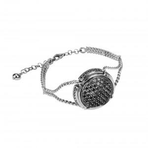 Champ ! Bracelet manchette torsadée, capsule pavée de diamants noirs, or blanc