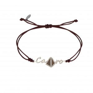 Globe-Trotter, bracelet Cairo, (Le Caire), argent massif, rhodié blanc, cordon nylon,