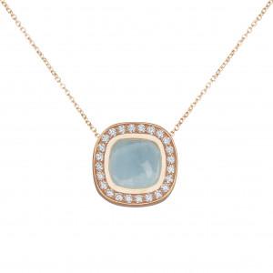 Marelle à Marbella, collier chaîne, pendentif aigue-marine bleue milky, taille cabochon coussin, diamants blancs, or rose