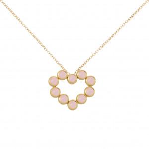 """""""Marelle à Marbella"""", collier chaîne, pendentif cœur, Opales roses, taille cabochon, or jaune,"""