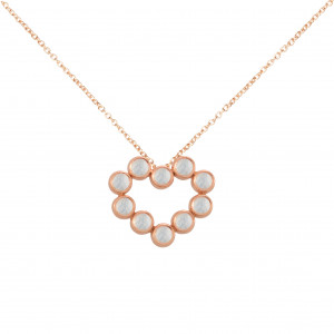 """""""Marelle à Marbella"""", collier chaîne, pendentif cœur, Pierres de Lune, taille cabochon, or rose,"""