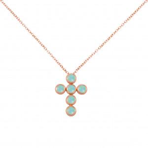 """Marelle à Marbella"", collier chaîne, pendentif croix, Aigues-Marines Bleues Milky, taille cabochon, or rose,"
