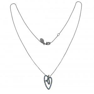 Joli Cœur collier, pendentif cœur pavé topazes bleus et verts, chaîne ras de cou et pendentif or noir