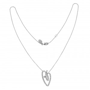 Joli Cœur collier, chaîne ras de cou et pendentif cœur, or blanc pavé diamants blancs