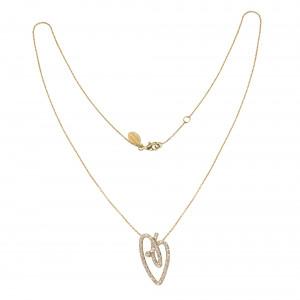 Joli Cœur collier, chaîne ras de cou et pendentif cœur, or jaune pavé diamants blancs