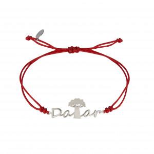 Globe-Trotter, bracelet Dakar, argent massif, rhodié blanc, cordon nylon,