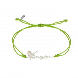 Globe-Trotter, bracelet Kingston, argent massif, rhodié blanc, cordon nylon,