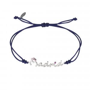 Globe-Trotter, bracelet Madrid, argent massif, rhodié blanc, cordon nylon,