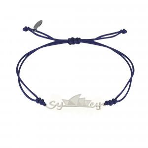 Globe-Trotter, bracelet Sydney, argent massif, rhodié blanc, cordon nylon,