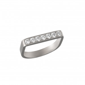 Baby Candy, bague étrier, or blanc, diamants blancs,