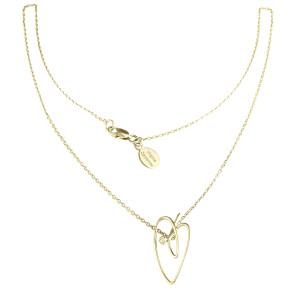Joli Cœur collier, chaîne ras de cou et pendentif cœur, or jaune et diamant blanc