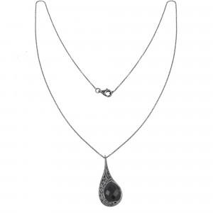 """""""La larme du Crocodile"""", collier chaîne, pendentif, filigrane, argent massif rhodié noir, Onyx noir, facetté, taille poire,"""