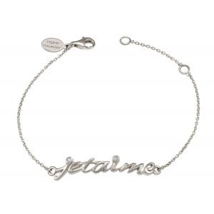 Bracelet chaîne 'Je t'aime' argent massif rhodié blanc et diamants
