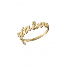 Bague, alliance, 'Je t'aime', argent massif plaqué or jaune, diamants blancs,