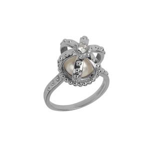 Princesse Tipois bague couronne, argent massif poli, perle d'eau douce, pierre synthétique Swarovski blanche