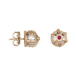 Princesse Tipois boucles d'oreille puces, couronnes, argent massif plaqué or rose, perle d'eau douce, pierre synthétique Swarovski rouge