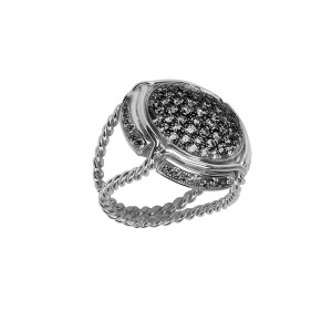 Champ ! bague chevalière, pavage diamants noirs, anneau torsadé, or blanc, 18 kt,