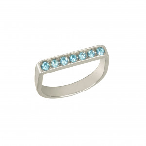 "Baby Candy, bague étrier, or blanc, topazes bleues, ""ice blue"","