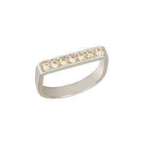 Baby Candy, bague étrier, or blanc, diamants Champagne,