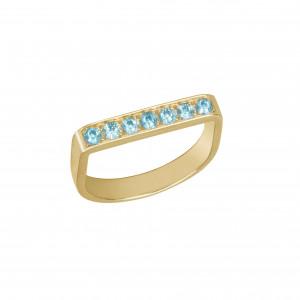 Baby Candy, bague étrier, argent massif plaqué or jaune, pierres Swarovski bleues,