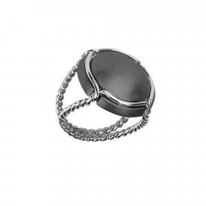 Champ!, bague chevalière, capsule satinée, argent rhodié noir, anneau torsadé, argent rhodié blanc