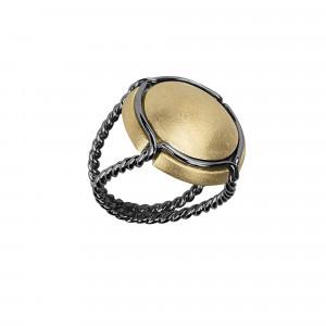 Champ !, bague chevalière, capsule satinée argent plaqué or jaune, anneau torsadé, argent rhodié noir