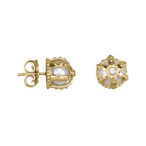 Princesse Tipois boucles d'oreille puces, couronnes, or jaune, perles d'eau douce, diamants blancs