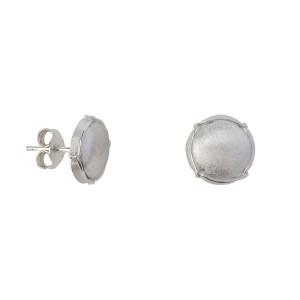Champ boucles d'oreilles puces mini capsules satinées, argent massif rhodié blanc
