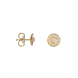 Marelle à Marbella, boucles d'oreille puces, petit cabochon Opale Rose, diamants blancs, or jaune