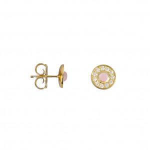 """""""Marelle à Marbella"""", boucles d'oreille puces, petit cabochon, Opale Rose, diamants blancs, or jaune,"""