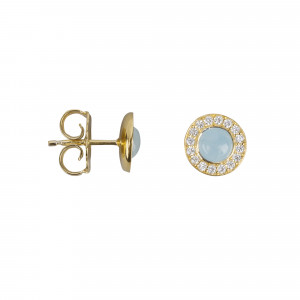 Marelle à Marbella, boucles d'oreille puces, cabochon d'aigue-marine bleue milky, diamants blancs,or jaune