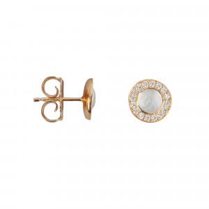 Marelle à Marbella, boucles d'oreille puces, cabochon de pierre de lune, diamants blancs, or rose