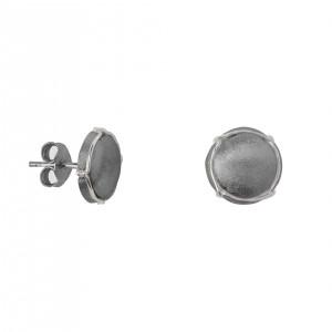 Champ boucles d'oreille puces, mini capsules satinées or blanc rhodié noir,  muselet or blanc